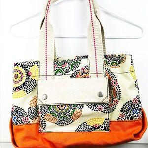 Fossil Canvas Hobo Tote Bag Floral Retro PB1